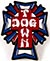 DOGTOWN CROSS LOGO COLOR RED WHITE AND BLUE ENAMEL PIN