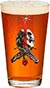 POWELL SKULL AND SWORD PINT GLASS