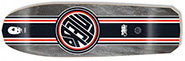 BLACK LABEL EMERGENCY LUCERO THUMBHEAD RACING STRIPE BLACK STAIN RE-ISSUE DECK 10.00